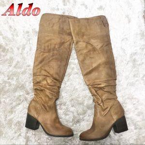 Aldo-Leather Tan Over the Knee Heel boot 11